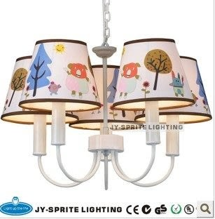 設計師美術精品館吊燈瘋搶鐵藝歐式兒童燈具臥室燈創意個性卡通動物燈罩溫馨地中海吊燈