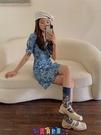 牛仔洋裝 短袖洋裝2021年春季新款法式復古碎花設計感小眾小個子辣妹牛仔連身裙女夏 寶貝計畫