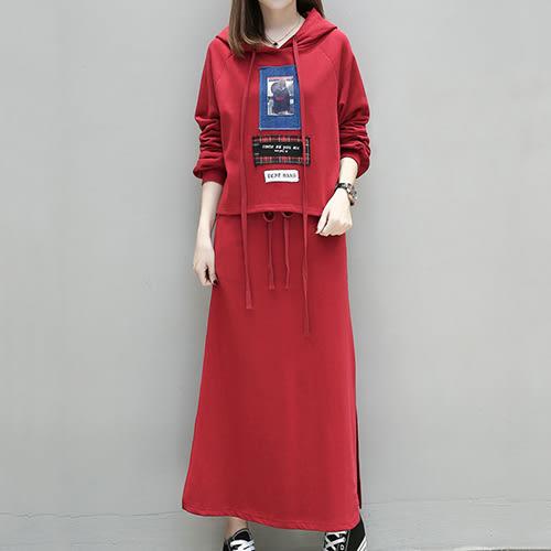 *ORead*韓版連帽衛衣長裙兩件套套裝(2色XL~5XL)