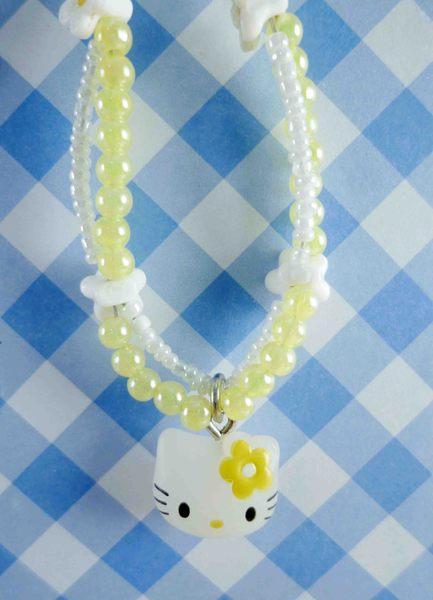 【震撼精品百貨】Hello Kitty 凱蒂貓~KITTY手機提帶-雛菊黃白珠