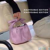 褶皺蝴蝶結水桶包包女斜背包手提包【千尋之旅】