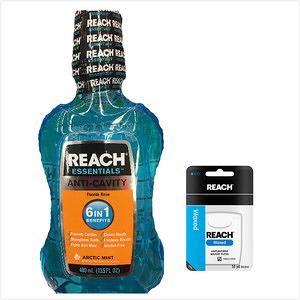 美國REACH麗奇漱口水(冰極薄荷)*3+牙線(無味)50.2m*6