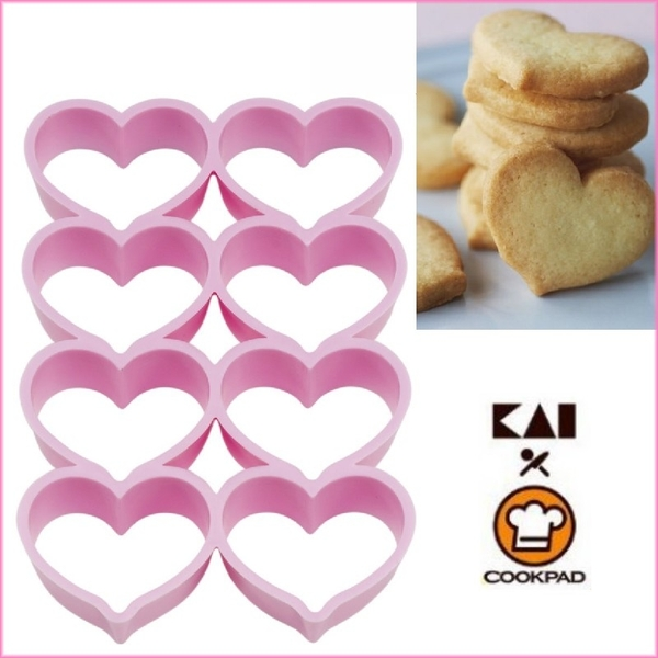 asdfkitty可愛家☆貝印 COOKPAD 8連心型餅乾壓模型/吐司壓模.快速一次押8個餅乾-日本正版商品