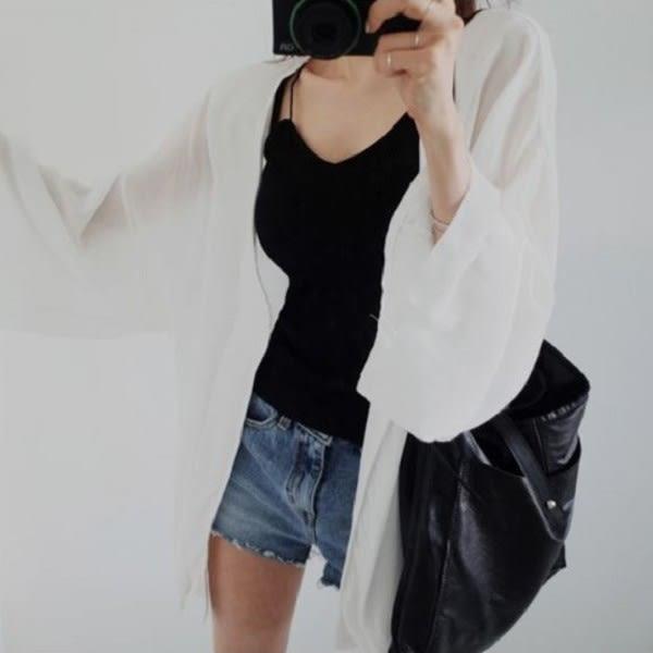 梨卡★現貨 - 韓國甜美沙灘外搭防曬外套罩衫-鉤花透視鏤空針織蕾絲七分袖薄外衣C6133