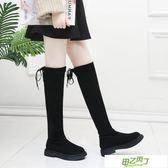 膝上靴女長筒靴女新品春秋季彈力平底高筒學生百搭女靴子冬