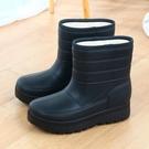 加絨男雪地靴保暖雨靴洗衣洗車廚房防水鞋棉鞋輕便高幫工作鞋雨鞋 怦然心動