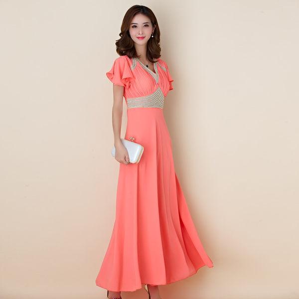 中大尺碼*希臘女神荷葉袖釘珠長款晚禮服宴會洋裝~美之札