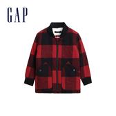 Gap男幼童柔軟大方格人造羊毛絨襯衫領外套488965-大方格