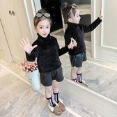 2019新款長袖T女童加厚打底衫女 韓版兒童洋氣秋裝金絲絨高領長袖上衣潮▷卡米優品◁