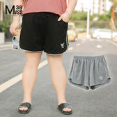 Miss38-(現貨)【A04203】大尺碼短褲 純棉彈力 寬鬆休閒 運動短褲 鬆緊腰 有口袋-中大尺碼女裝
