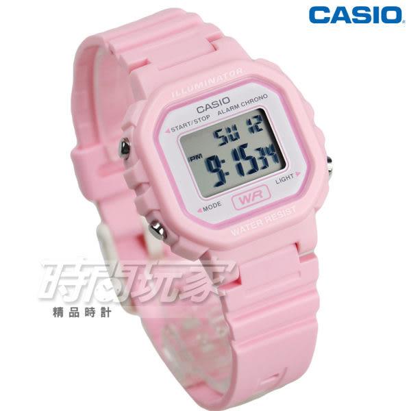 CASIO卡西歐 LA-20WH-4A1 復古風百搭方形電子錶 女錶 兒童錶 防水手錶 LED照明 粉紅 LA-20WH-4A1DF