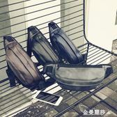 街頭休閒胸包男士PU皮死飛腰包簡約皮質斜挎包運動郵差包騎行包潮 金曼麗莎