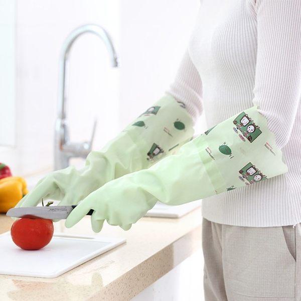 ►全區69折►清潔用手套 橡膠加絨加厚型 防水防滑家務手套【B9129】