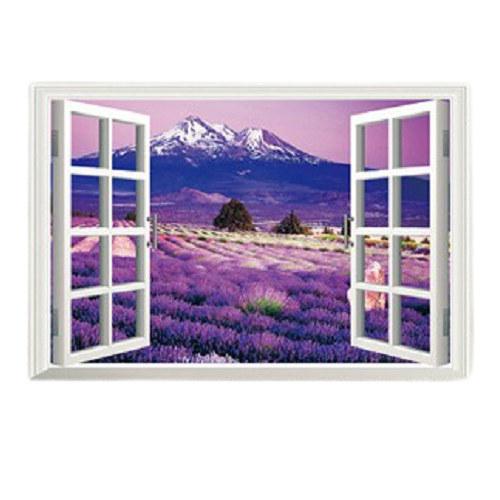 薰衣草花海 3D立體壁貼 可重覆黏貼 貼紙 辦公室 客廳 臥室貼 假窗戶風景 沂軒精品 E0032