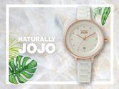 【時間道】NATURALLY JOJO  都會簡約仕女腕錶 / 白面玫瑰金殼白陶瓷帶(JO96926-80R)免運費