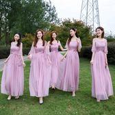伴娘服2018新款韓版一字肩連衣裙灰色長款顯瘦伴娘團姐妹裙禮服【博雅生活館】
