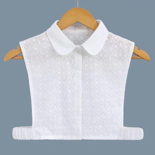 假領子領片襯衫 圓領緹花布菱形格 帽T洋裝襯衫針織大學T外套內搭 白色[E1405]  預購.朵曼堤洋行