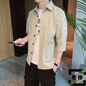 工裝短袖襯衣七分袖襯衫男春夏季潮流純棉五分袖【左岸男裝】