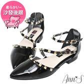 Ann'S網美指定款-繞帶鉚釘漆皮尖頭平底鞋-黑