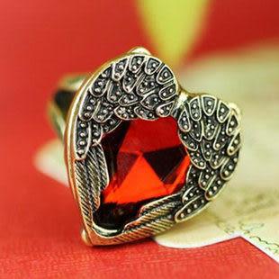 複古紅寶石愛心天使翅膀 女 戒指