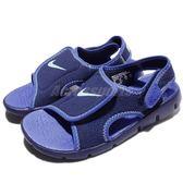 Nike 涼鞋 Sunray Adjust 4 GS PS 藍 深藍 小朋友 中童鞋 涼拖鞋【PUMP306】 386518-413