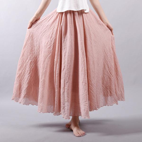 遮胯裙子顯瘦洋氣胖妹妹大碼半身裙寬鬆百搭純色長裙2020夏季新款 快速出貨