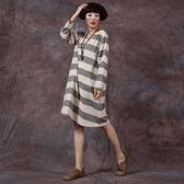 長袖連身裙-圓領拼色條紋寬鬆女短裙2色73vu39[巴黎精品]