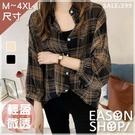 EASON SHOP(GU9152)格紋印花薄款透膚襯衫 長袖襯衫 寬鬆顯瘦 修身 黑色