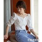 一字肩襯衫 復古法式一字肩方領上衣女夏季泡泡袖短款襯衫女設計感小眾宮廷風 618大促銷