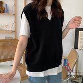針織馬甲秋款學院風V領套頭寬鬆黑色毛衣背心女【時尚大衣櫥】