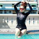泳裝 泳衣 長袖防曬泳衣兩件式露印花潛水泳裝【SF1659X】 BOBI  07/28