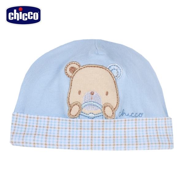 chicco-駕駛小熊-格紋反折嬰兒帽