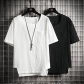 棉麻短袖T恤夏季新款圓領純色棉麻半袖上衣   【雙十二免運】