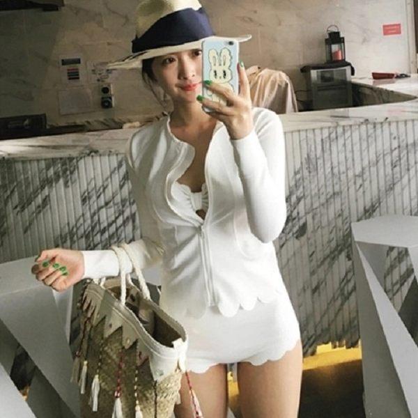 梨卡★現貨 - 韓版甜美外套顯瘦遮肚波浪浪漫防曬長袖外套三件式比基尼泳裝泳衣C916