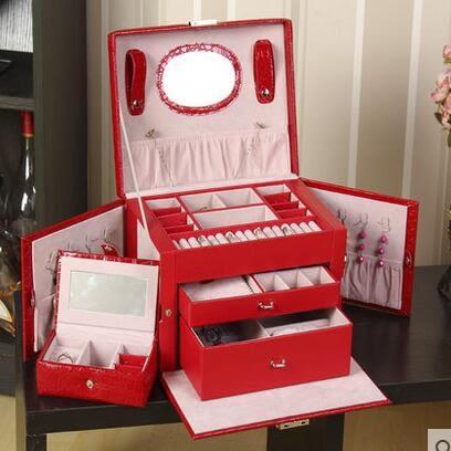 首飾收納盒公主歐式韓國實木質絨布批髮帶鎖大容量多層抽屜式