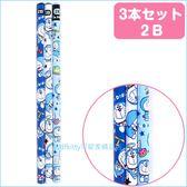 asdfkitty可愛家☆哆啦A夢藍白色六角鉛筆-2B-3入-日本正版商品