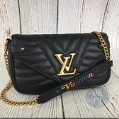 BRAND楓月 LV M63929 黑色 NEW WAVE CHAIN POCHETTE 鍊包 小包 側背包