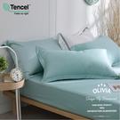 加大雙人床包歐式枕套三件組【 DR1000 solid color 全綠】300織 膠原蛋白天絲 台灣製 OLIVIA