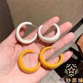 簡約個性復古氣質熒光色圓環半圓圈寬面耳環女耳釘【奇妙商鋪】