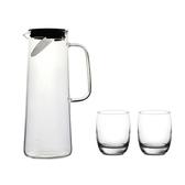(組)簡約大容量直身玻璃冷水壺 + Ocean Ivory洛克杯 (2pc)
