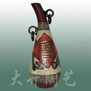 陶藝禮物擺設工藝品發財瓶*招財進寶花瓶裝飾品