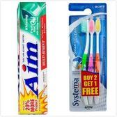 美國 Aim亮白牙膏-清新(5.5oz*6)+System牙刷3組