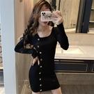 長袖洋裝 針織連身裙春秋季性感修身顯瘦包臀短裙 緊身打底毛衣冬裙  降價兩天