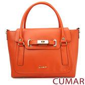【CUMAR女包】單色素面復古學院風手提包-橘