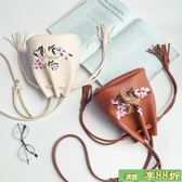 夏季女包2018新款潮民族風刺繡流蘇水桶包肩背包手提包個性斜背包