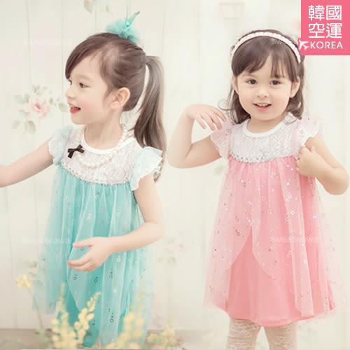 熱賣款~韓國童裝~冰雪公主閃閃光芒飄逸雪紡洋裝(210247)★水娃娃時尚童裝★