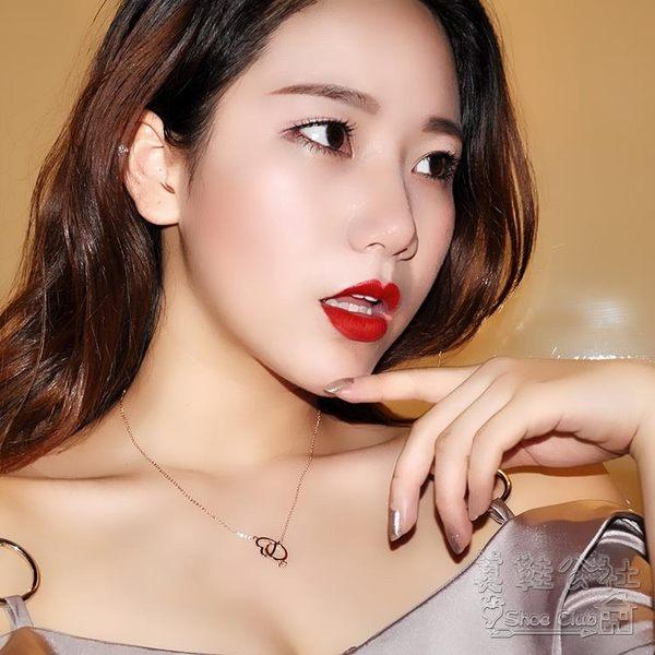 甜美可愛鏤空愛心清新桃心項鏈女  hh219『美鞋公社』