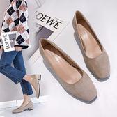 工裝鞋 韓版純色絨面方頭淺口粗跟顯瘦高跟鞋四季單鞋工裝鞋女2019新款春 夢幻衣都