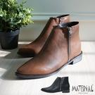 短靴 裝飾拉練尖頭短靴 MA女鞋 T20...