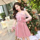 VK精品服飾 韓系高性感透視系帶網紗拼接長袖洋裝